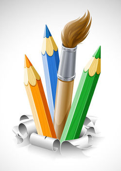 Pencils & Brush Coming out of the Ground - vector gratuit #173057