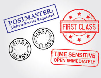 First Class Distressed Stamp Pack - Free vector #173117