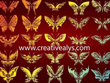Decorative Silhouette Butterfly Pack - Free vector #173137