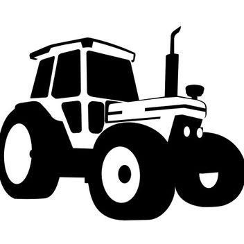Silhouette Traced Tractor Vehicle - vector gratuit #173187
