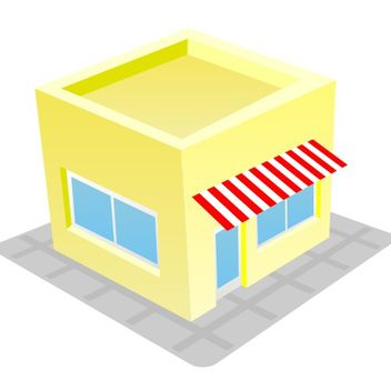 Cute & Funky Store House Building - vector gratuit #173197