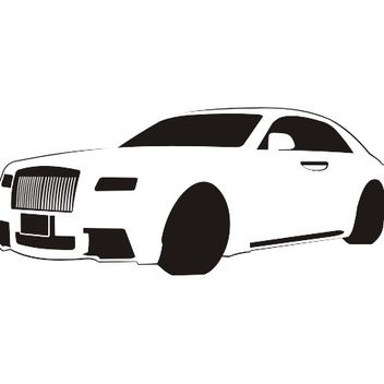 Black & White Traced Rolls-Royce - Free vector #173217