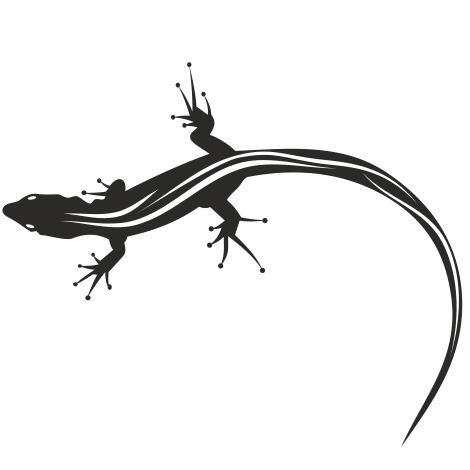 Silhouette Animal Black & White Lizard - Free vector #173277
