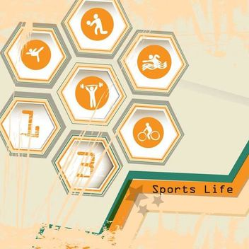 Hexagon Sports Life Icon with Grungy Stain - Free vector #173377