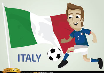 Italian footballer with flag - vector gratuit #173387