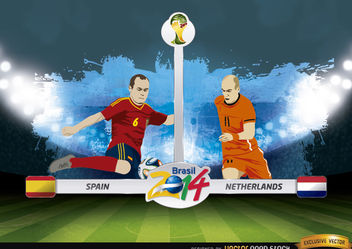 Spain vs. Netherlands match Brazil 2014 - vector gratuit #173417