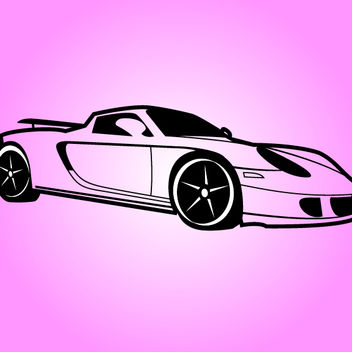 Black & White Porsche Sports Car - Free vector #173607