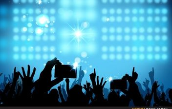 Concert crowd with stage lights - бесплатный vector #173647