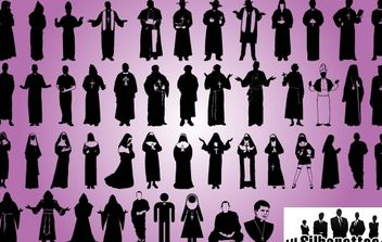 Priest and Robed Pack Silhouette - vector gratuit #173657