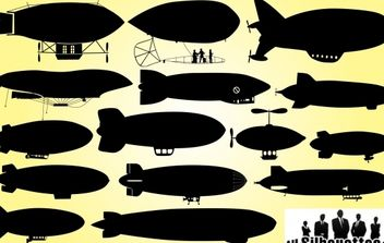 Dirigible Airship Pack Silhouette - vector #173667 gratis