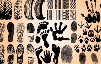 Foot and Car Wheel Step Print Set - Free vector #173707