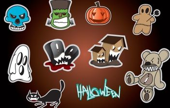 Sticker Set with Halloween Object - vector gratuit #173757