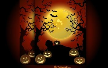 Spooky Halloween Art with Creepy Trees - Free vector #173807
