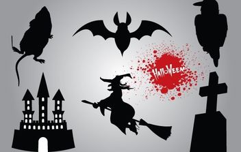 Silhouette Halloween Stuff Pack - Free vector #173837
