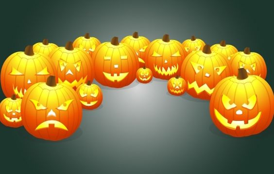 Pumpkin Pack with Evil Smiles - Free vector #173857