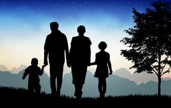 Evening Time Nature with Happy Family - Kostenloses vector #173877