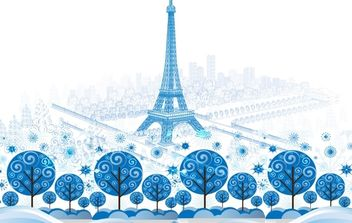 Blue Paris City - Free vector #173977