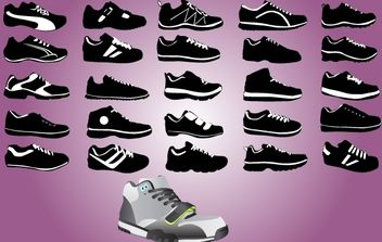 Sports Shoe Pack Black & White - Free vector #174137