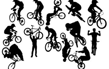 Silhouette Bicycle Perform Pack - Free vector #174147