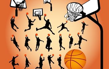 Silhouette Basketball Game - Kostenloses vector #174167