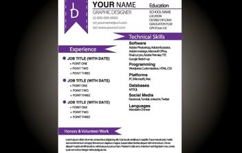 Purple Basic Resume Template - бесплатный vector #174217