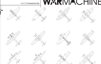 Line Art Fighter Plane Pack - Kostenloses vector #174327