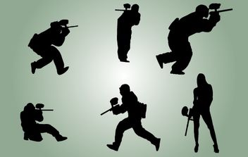Silhouette Paintball Players Vector - vector gratuit #174337