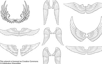 Sketchy Wings Pack Vector - Free vector #174397
