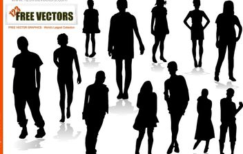 Silhouette Vector Boys and Girls - vector gratuit #174407