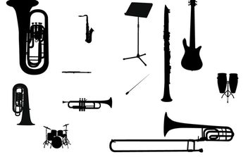Silhouette Vector Music Instrument - vector #174437 gratis