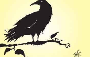 Silhouette Vector Crow - Free vector #174527