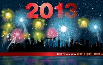 2013 Fireworks night with skyline - Free vector #174687