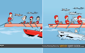 Funny Rowing Race - vector gratuit #175457