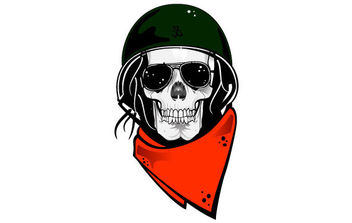 Skull With Military Helmet Vector - vector gratuit #175467