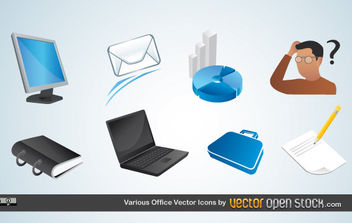 Various Office Vector Icons - vector #175637 gratis