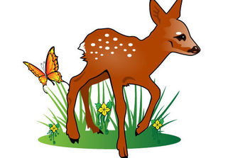 Young Deer Vector Illustration - бесплатный vector #175767