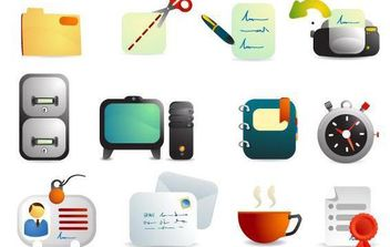 Cute Office Supplies Vector Icons - бесплатный vector #175817