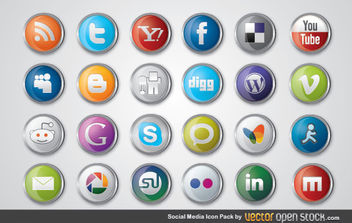 Social Media Icon Pack - vector gratuit #175927