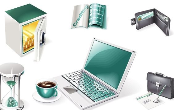 3D Financial and Business Web Icons - vector gratuit #176057