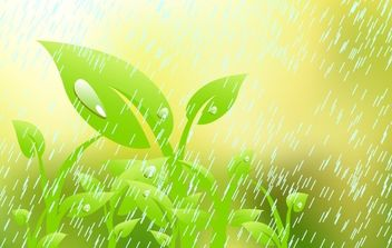 Plant in the rain - Free vector #176207
