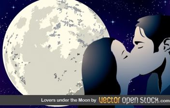Lovers Under the Moon - Free vector #176357
