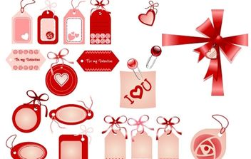 Love Badges, Ribbons, Bows in Red - бесплатный vector #176367