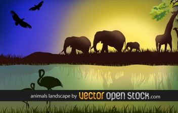 African landscape with animals - vector gratuit #176517