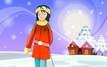 Christmas card on a snowy day - бесплатный vector #176667