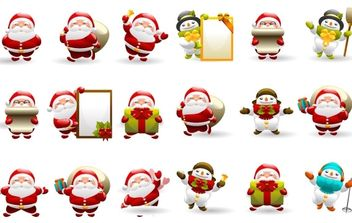 Christmas Santa Icon Set - бесплатный vector #176697