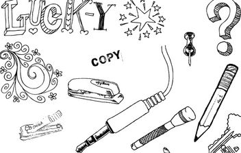 A set of hand drawn objects free vector - Free vector #176917