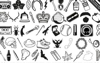 Random scrap icons and useless ephemera - vector gratuit #176957