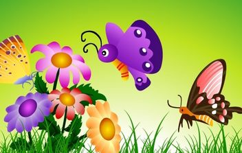 butterflies and flowers 8 - vector gratuit #177127