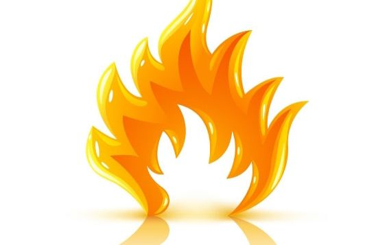 Glossy burning fire flame - vector gratuit #177187