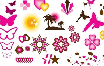 Butterly love and star patern vector - Free vector #177327